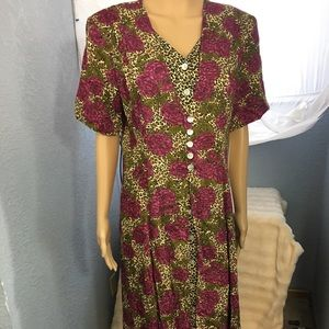 JBS SZ 16 Floral Cheetah Maxi Dress front slit